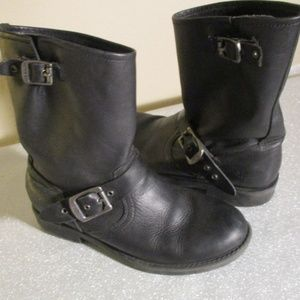 FRYE BLACK LEATHER MOTO BOOTS ~5.5  BUCKLE STRAPS